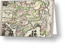 1740 Seutter Map Of India Pakistan Tibet And Afghanistan Greeting Card
