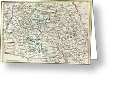 1740 Zatta Map Of Central France And The Vicinity Of Paris  Greeting Card