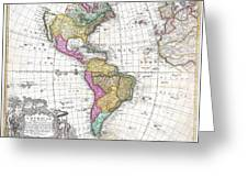 1746 Homann Heirs Map Of South And North America Greeting Card