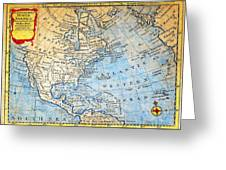 1747 Bowen Map Of North America Geographicus Northamerica Bowen 1747 Greeting Card