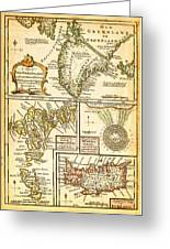 1747 Bowen Map Of The North Atlantic Islands Greenland Iceland Faroe Islands Maelstrom Geographicus  Greeting Card