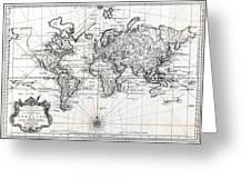 1748 Antique World Map Versuch Von Einer Kurzgefassten Karte  Greeting Card
