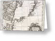 1750 Bellin Map Of The Kuril Islands Greeting Card