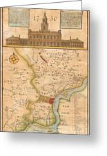 1752  Scull  Heap Map Of Philadelphia And Environs Greeting Card