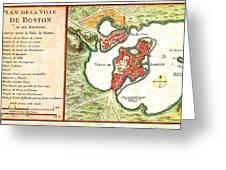 1756 Bellin Map Of Boston Massachusetts Geographicus Boston2 Bellin 1756 Greeting Card