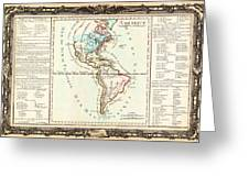 1760 Desnos And De La Tour Map Of North America And South America Geographicus Amerique Desnos 1760 Greeting Card
