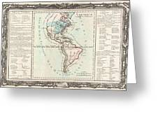 1760 Desnos And De La Tour Map Of North America And South America Greeting Card