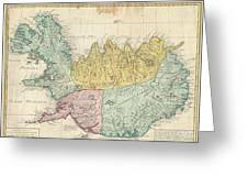 1761 Homann Heirs Map Of Iceland Greeting Card