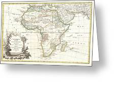 1762 Janvier Map Of Africa Greeting Card