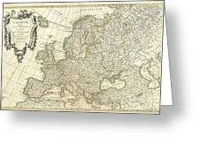 1762 Janvier Map Of Europe  Greeting Card