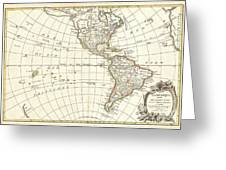 1762 Janvier Map Of North America And South America  Greeting Card
