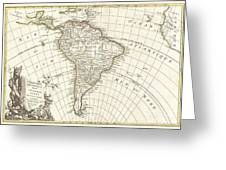 1762 Janvier Map Of South America  Greeting Card