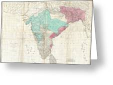 1768 Jeffreys Wall Map Of India And Ceylon Greeting Card