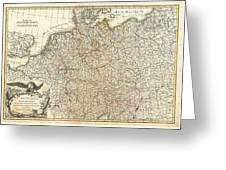 1771 Rizzi Zannoni Map Of Germany And Poland Greeting Card