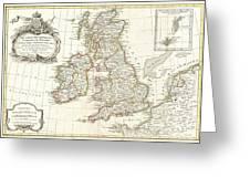 1771 Zannoni Map Of The British Isles  Greeting Card