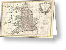 1772 Bonne Map Of England And Wales  Greeting Card