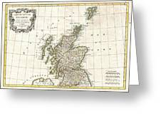 1772 Bonne Map Of Scotland  Greeting Card