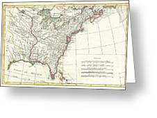 1776 Bonne Map Of Louisiana And The British Colonies In North America Greeting Card