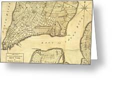 1776 New York City Map Greeting Card