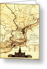 1777 Philadelphia Map Greeting Card by Bill Cannon