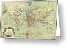 1778 Bellin Nautical Chart Or Map Of The World Greeting Card