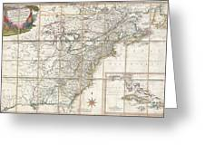 1779 Phelippeaux Case Map Of The United States During The Revolutionary War Greeting Card