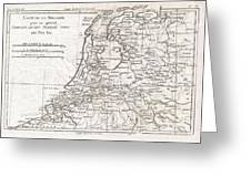 1780 Raynal And Bonne Map Of Holland And Belgium Greeting Card