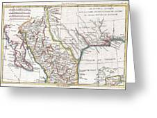 1780 Raynal And Bonne Map Of Mexico And Texas  Greeting Card