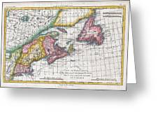 1780 Raynal And Bonne Map Of New England And The Maritime Provinces Greeting Card