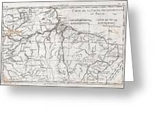 1780 Raynal And Bonne Map Of Northern Brazil Greeting Card