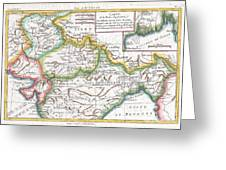 1780 Raynal And Bonne Map Of Northern India Greeting Card
