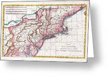 1780 Raynal And Bonne Map Of Northern United States Greeting Card