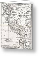 1780 Raynal And Bonne Map Of Peru Greeting Card