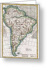 1780 Raynal And Bonne Map Of South America Greeting Card