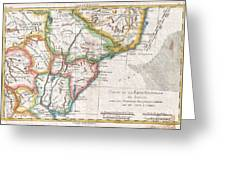 1780 Raynal And Bonne Map Of Southern Brazil Northern Argentina Uruguay And Paraguay Greeting Card