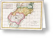 1780 Raynal And Bonne Map Of Southern United States Greeting Card