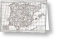 1780 Raynal And Bonne Map Of Spain And Portugal Greeting Card