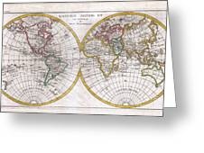1780 Raynal And Bonne Map Of The Two Hemispheres Greeting Card