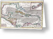 1780 Raynal And Bonne Map Of The West Indies Caribbean And Gulf Of Mexico Greeting Card