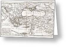 1780 Raynal And Bonne Map Of Turkey In Europe And Asia Greeting Card