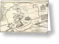 1784 Bocage Map Of Athens Greece Greeting Card
