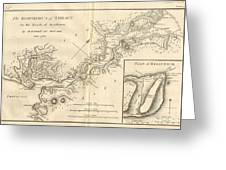 1784 Bocage Map Of The Bosphorus And The City Of Byzantium  Istanbul  Constantinople Greeting Card