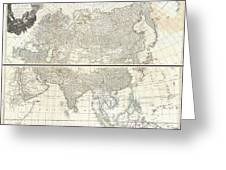 1784 D Anville Wall Map Of Asia Greeting Card