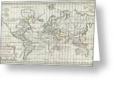 1784 Vaugondy Map Of The World On Mercator Projection Greeting Card