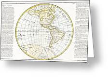 1785 Clouet Map Of North America And South America Greeting Card