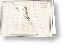1786 La Perouse Map Of Vancouver And British Columbia Canada Greeting Card