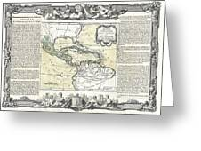 1788 Brion De La Tour Map Of Mexico Central America And The West Indies Greeting Card