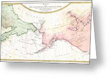 1788 Schraembl Map Of The Northwest Passage Greeting Card