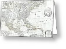 1788 Schraembl  Pownall Map Of North America And The West Indies Greeting Card
