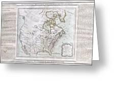 1789 Brion De La Tour Map Of North America Greeting Card